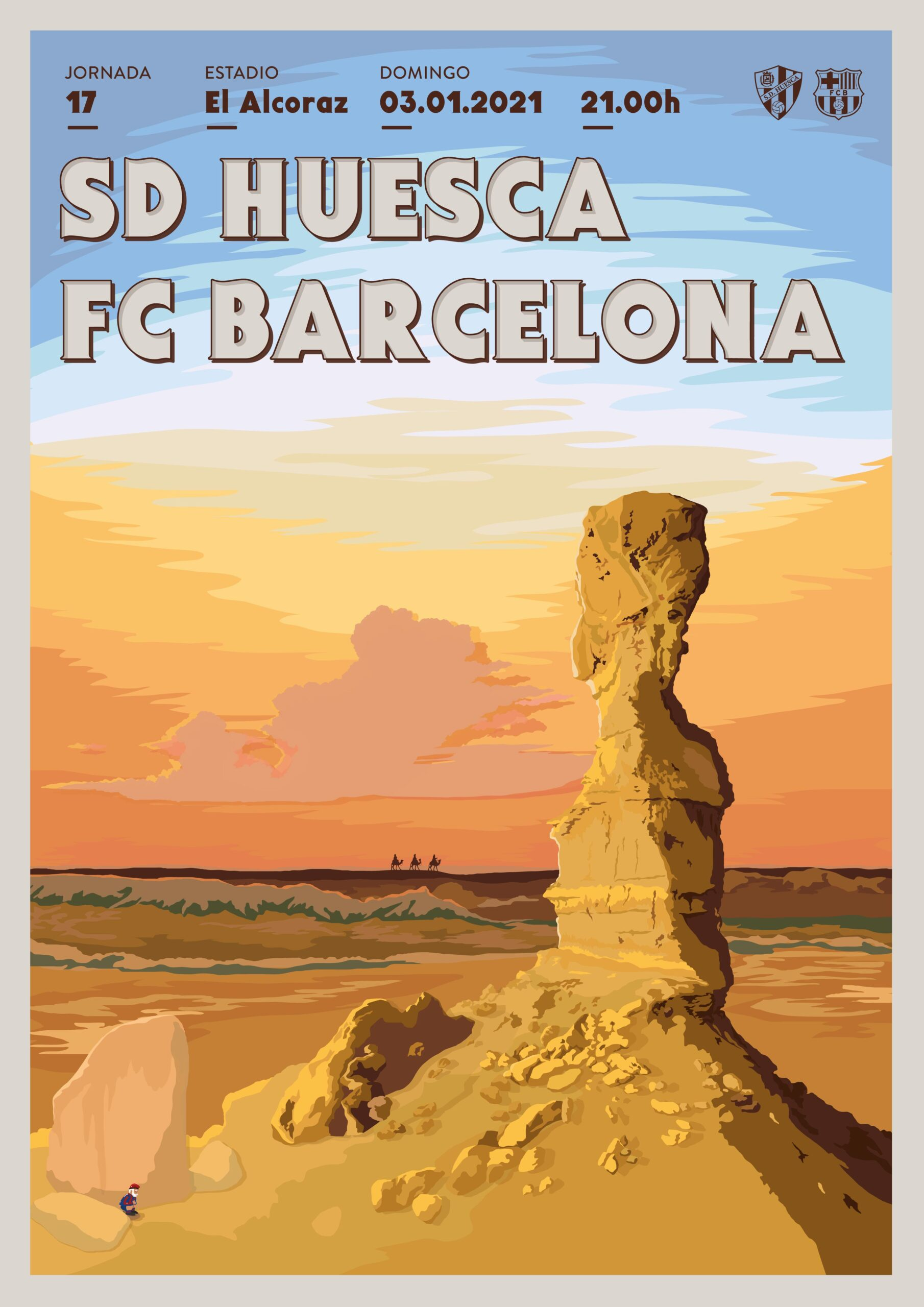 Cartel SD Huesca vs FC Barcelona