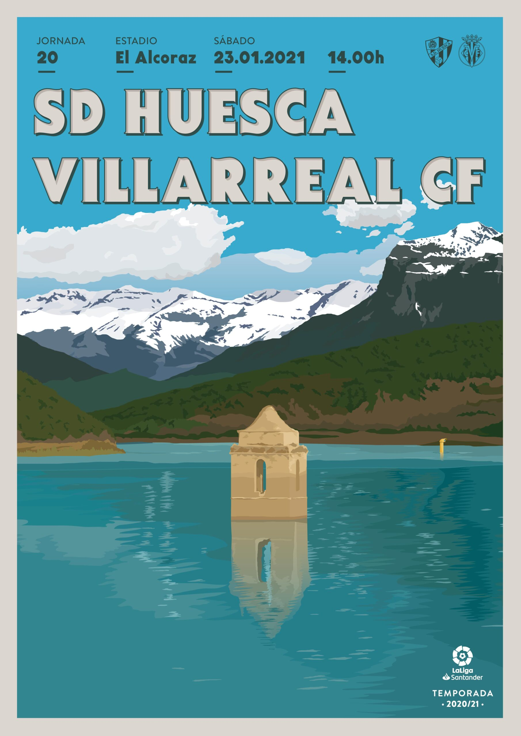 Cartel SD Huesca vs Villarreal CF