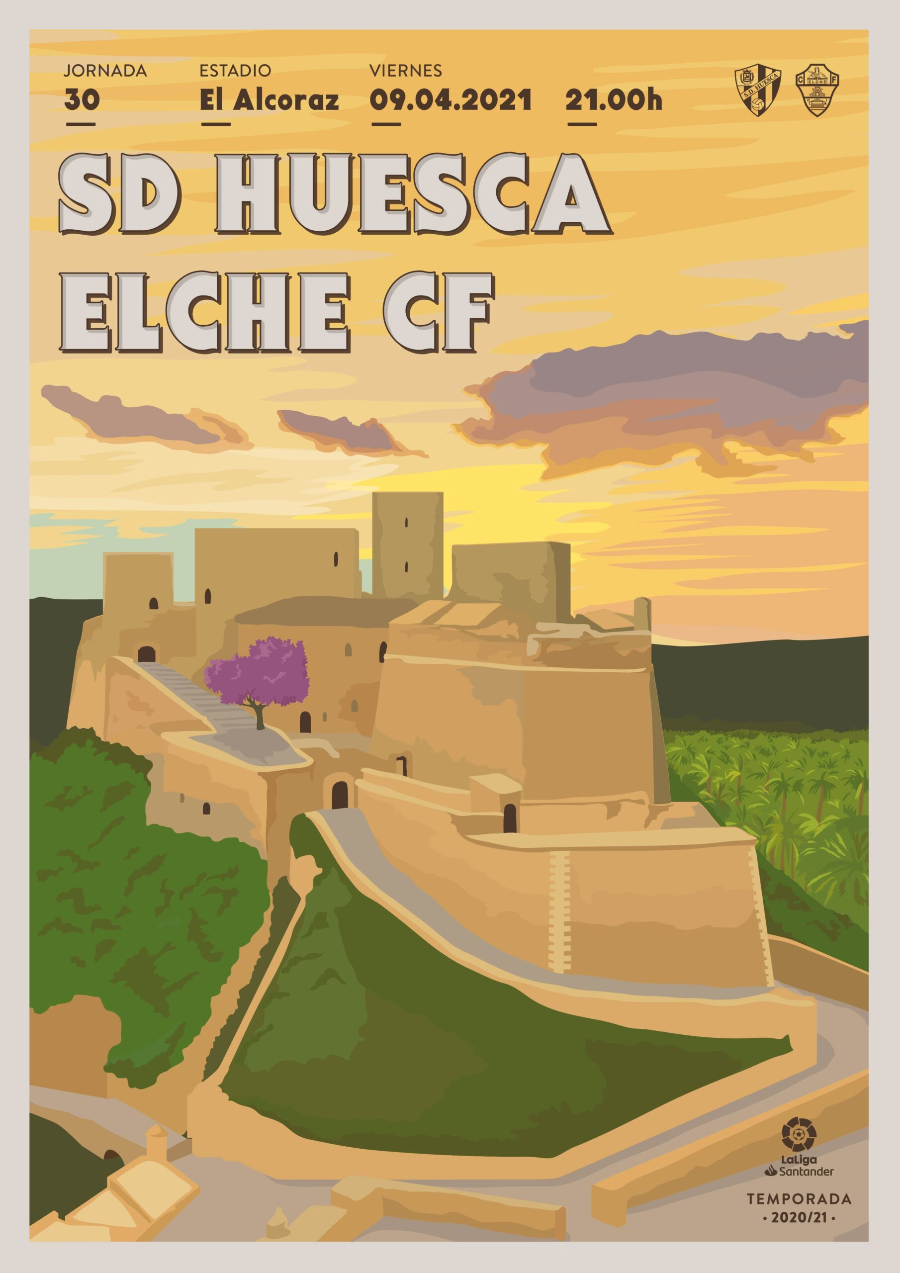 Cartel SD Huesca vs Elche CF